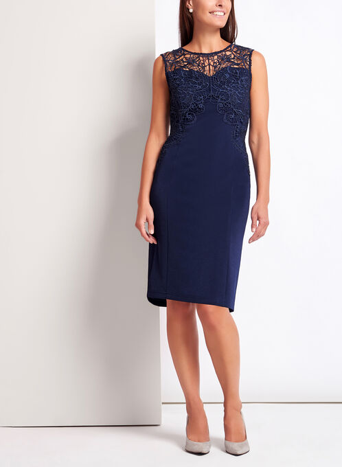 Lace Embellished Sheath Dress, Blue, hi-res
