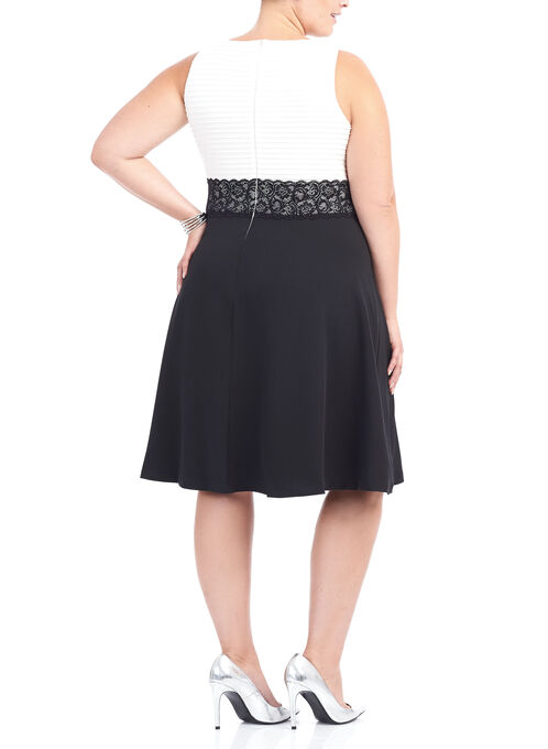 Crêpe Fit & Flare Dress, Black, hi-res