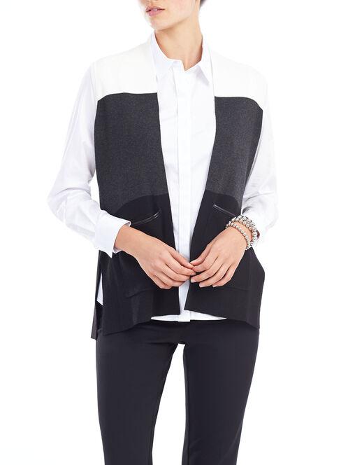 Open Front Knit Cardigan, Grey, hi-res