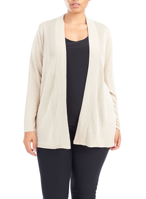 Pointelle Detail Knit Cardigan, Off White, hi-res