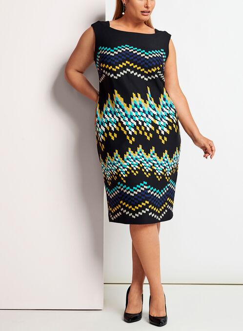 Zig Zag Print Midi Dress, Blue, hi-res
