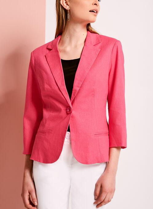 Linen Blend Single Button Blazer, Pink, hi-res