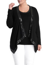 Sequin Trim Draped Front Cardigan , Black, hi-res