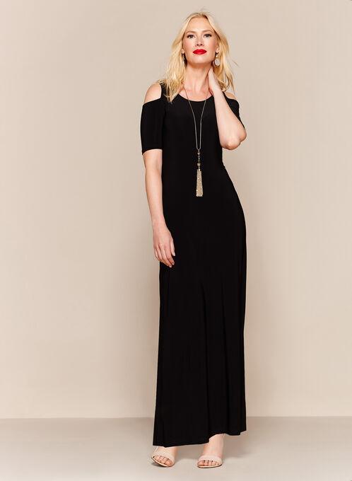 Cold Shoulder Maxi Dress, Black, hi-res