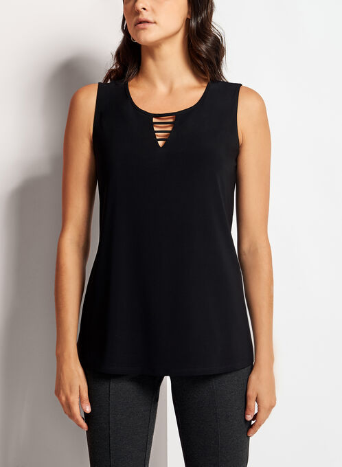 Sleeveless Lace Effect Top, Black, hi-res