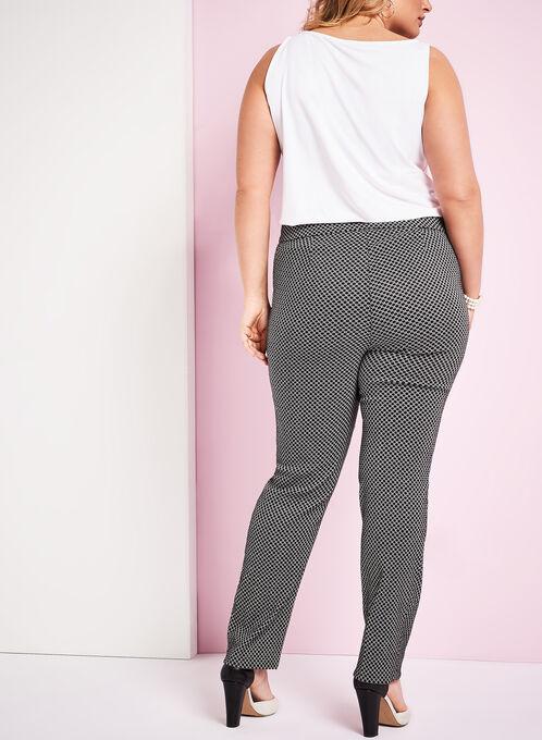 Jacquard Printed Straight Leg Pants, Black, hi-res