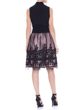 Sleeveless Ruched Soutache Dress, Black, hi-res