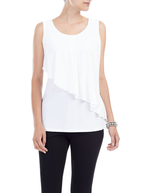 Sleeveless Layered Top, Off White, hi-res