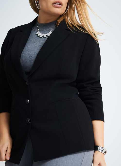 Metal Button Notch Lapel Blazer, Black, hi-res