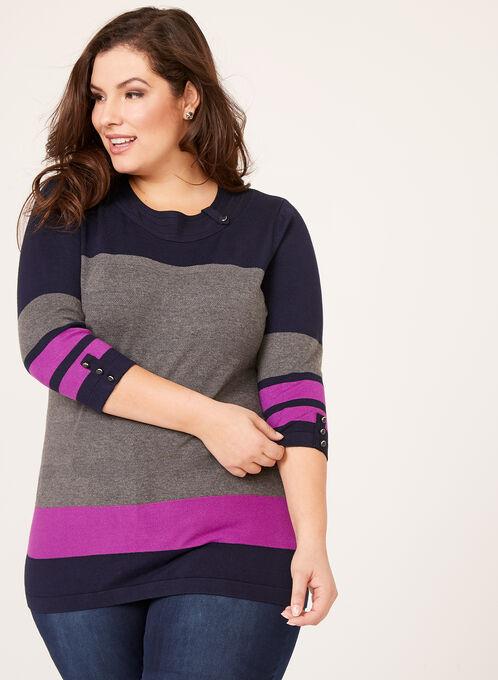 Colour Block Button Trim Sweater, Grey, hi-res