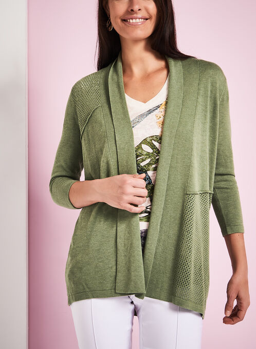 3/4 Sleeve Pointelle Cardigan, Green, hi-res