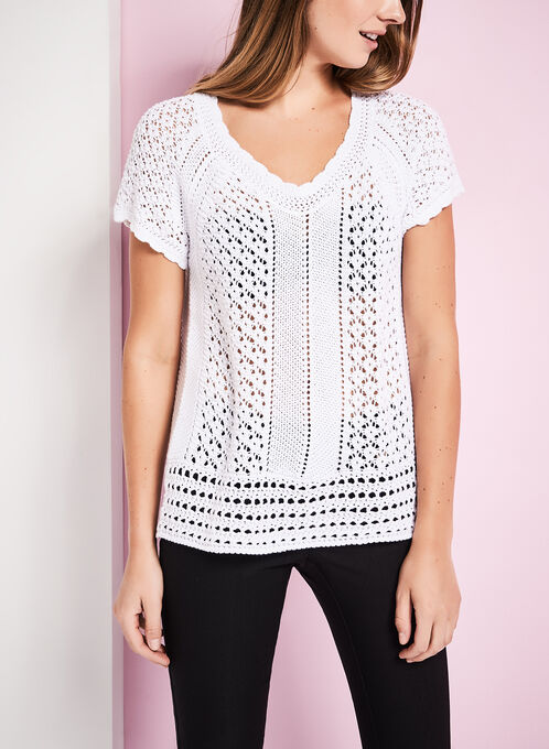 Crochet Knit Scoop Neck Sweater, White, hi-res