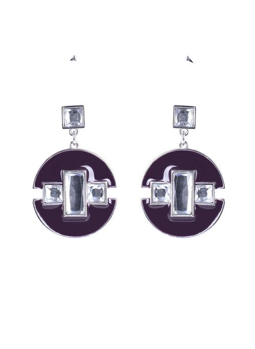 Stone Center Geometric Earrings , Purple, hi-res
