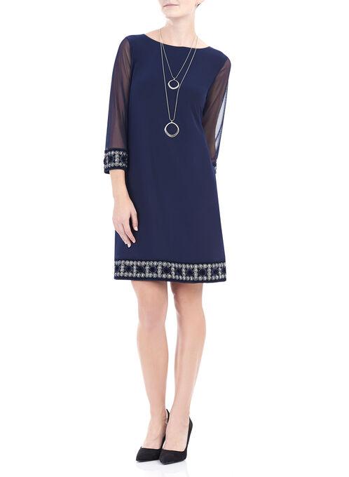 3/4 Sleeve Embellished Trim Dress , Blue, hi-res