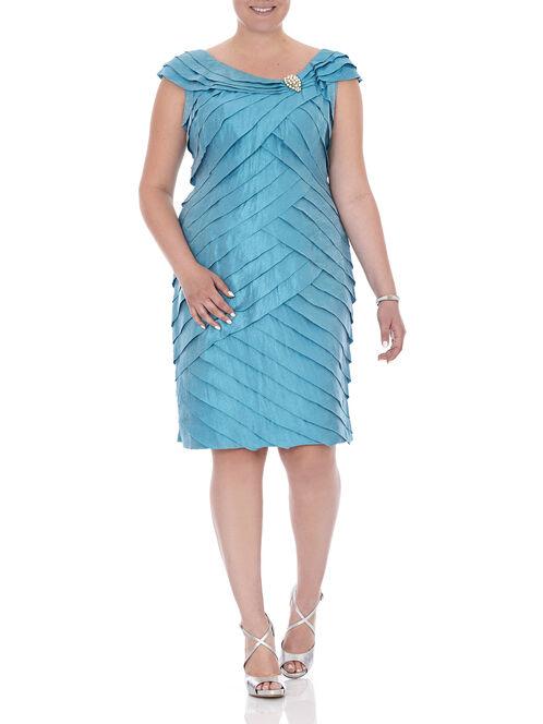 Short Sleeve Tiered Pearl Trim Dress, Blue, hi-res