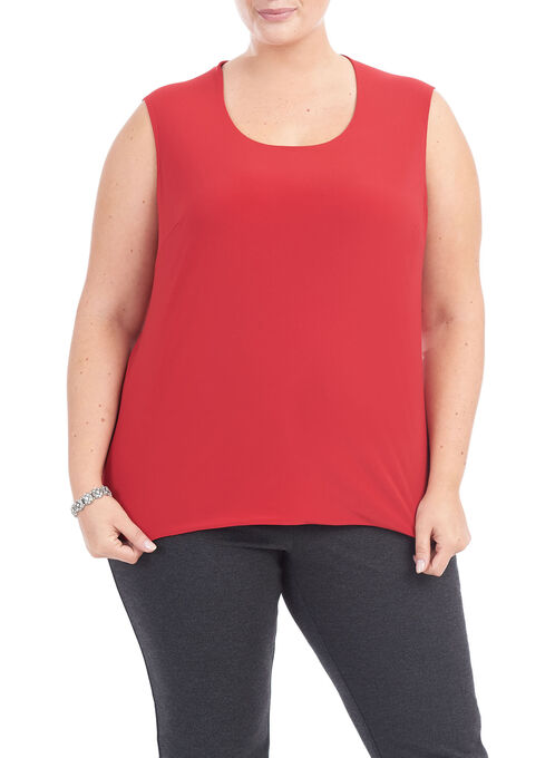 Sleeveless Horseshoe Neck Top , Red, hi-res