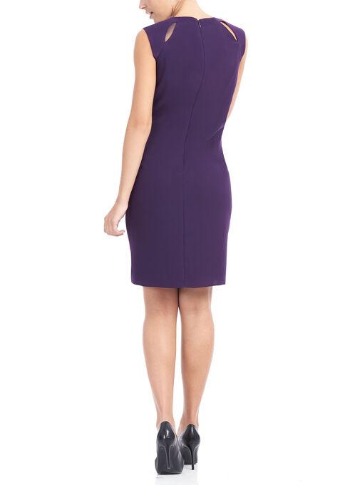 Layered Crêpe Dress with Chain Trim, Purple, hi-res