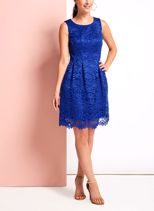 Sleeveless Pleated Floral Lace Dress, Blue, hi-res