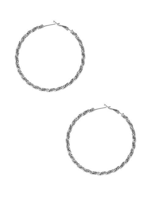 Textured Hoop Earrings, Silver, hi-res