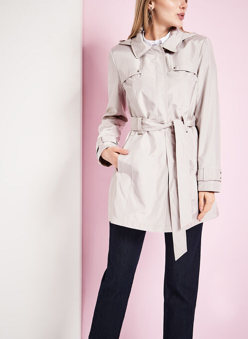 Novelti Iridescent Trench Coat, Off White, hi-res
