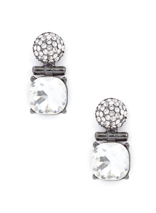 Two-Tone Crystal Earrings, Grey, hi-res