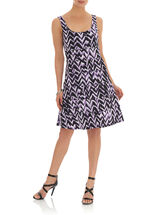 Chevron Print Fit & Flare Tank Dress, Purple, hi-res