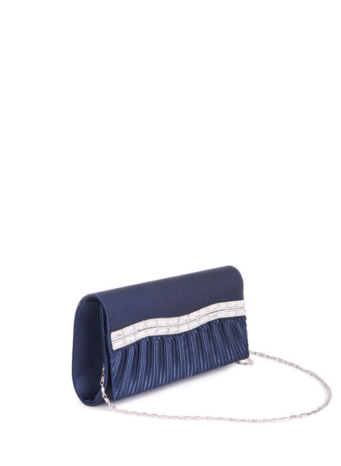 Pleated Jewelled Satin Clutch, Blue, hi-res