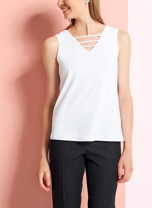 Crepe Knit Cutout Detail Blouse, Off White, hi-res