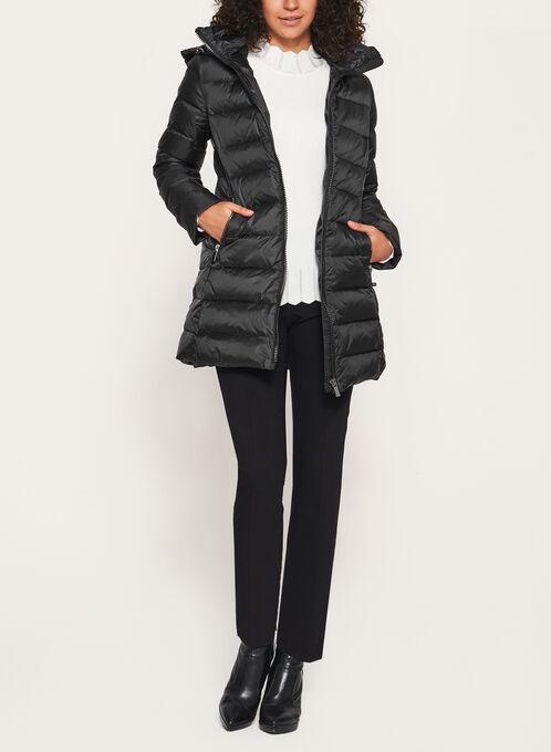 Quilted Down Nylon Coat, Black, hi-res