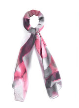 Abstract Print Lightweight Scarf, Red, hi-res