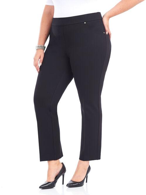 Rivet Detail Straight Leg Pants, Black, hi-res