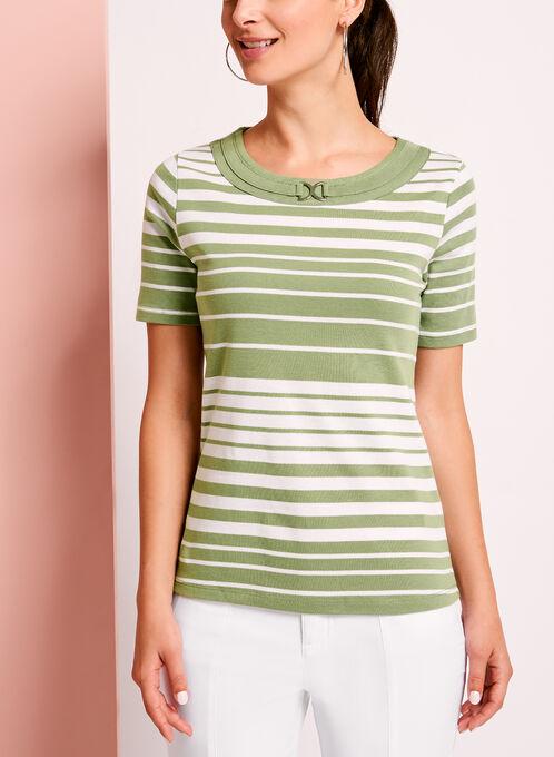 Stripe Print Ring Trim Cotton T-Shirt, Green, hi-res
