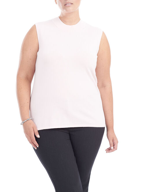 Sleeveless Knit Tank Top, Pink, hi-res