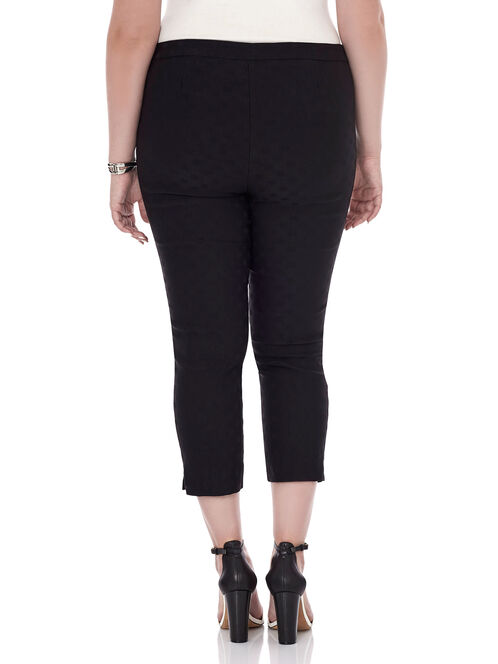 Jacquard Straight Leg Capri Pants , Black, hi-res