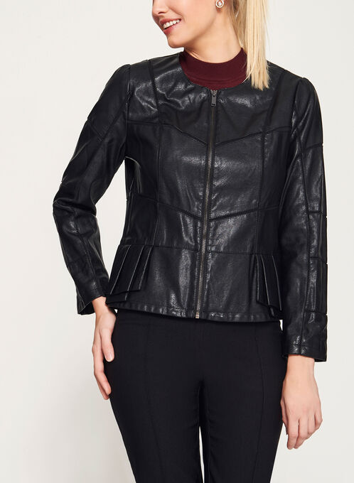 Peplum Detail Faux Leather Jacket
