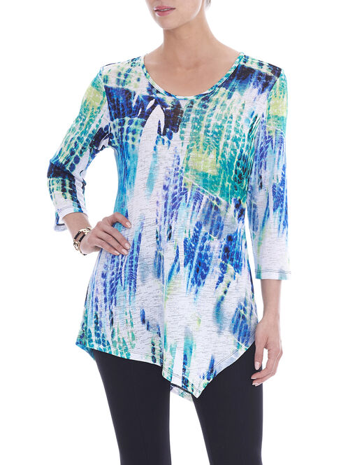 3/4 Sleeve Printed Tunic Top, White, hi-res