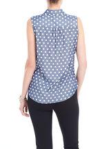 Sleeveless Polka Dot Print Blouse, Blue, hi-res