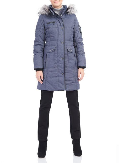 Novelti Herringbone Print Coat, Blue, hi-res