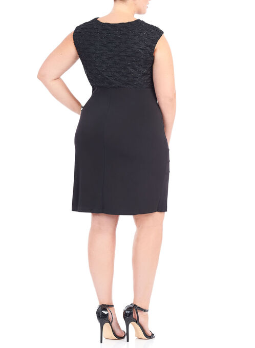 Cowl Neck Eyelash Trim Dress, Black, hi-res