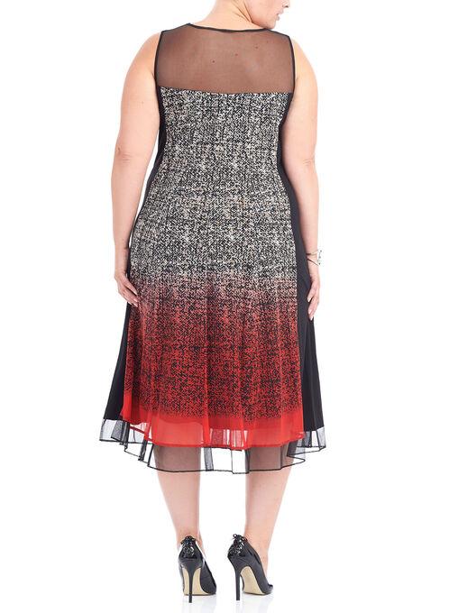 Sleeveless Mesh Detail Midi Dress, Red, hi-res