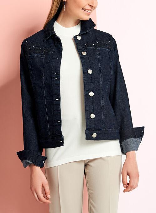 Embellished Embroidered Denim Jacket, Blue, hi-res