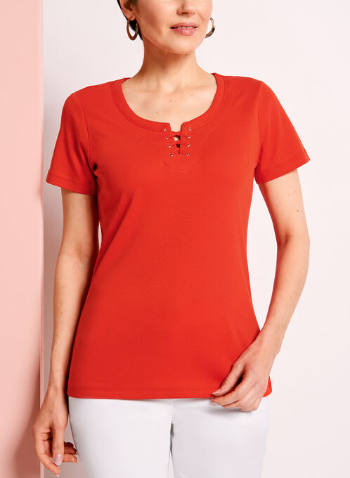 Scoop Neck Lace-Up T-Shirt, Red, hi-res