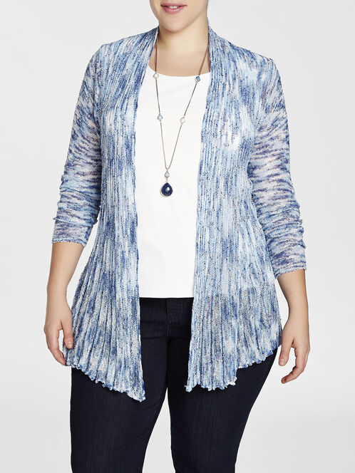 Space Dye Pleated Hem Cardigan, Blue, hi-res