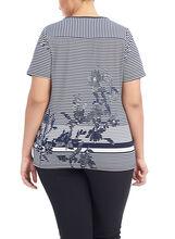 Short Sleeve Cut & Sew Print Tunic, Blue, hi-res