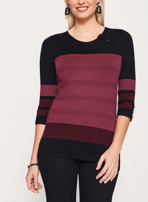 Colour Block Button Trim Sweater, Red, hi-res