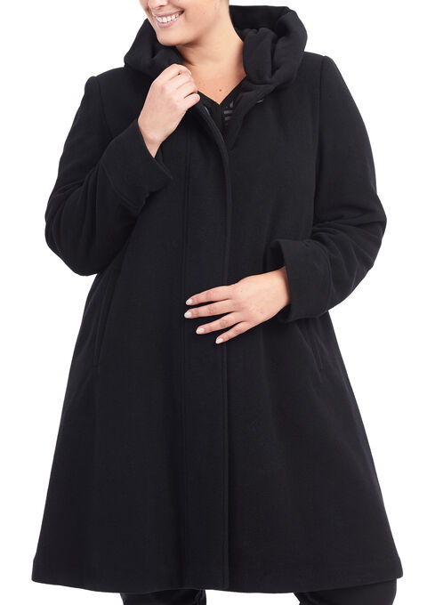 Wool A-Line Coat , Black, hi-res