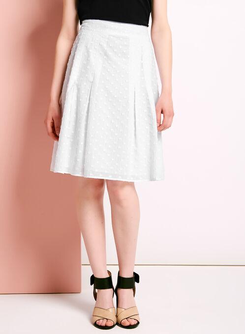 Pleated Reverse Fil-Coupé Skirt, White, hi-res