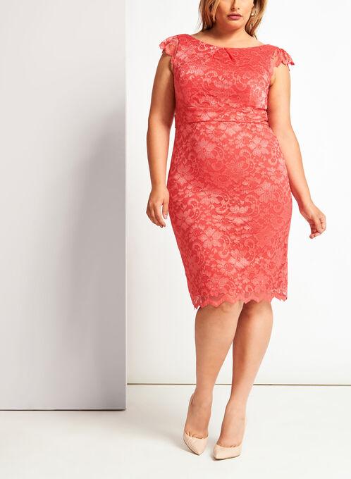 Floral Lace Midi Dress, Orange, hi-res