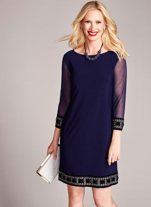 3/4 Sleeve Embellished Trim Shift Dress, Blue, hi-res
