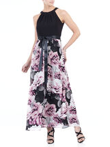 Sleeveless Printed Cleo Neck Gown , Black, hi-res